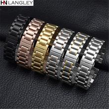 Pulseira de relógio de aço inoxidável banda de relógio pulseira de metal 14mm 16mm 17mm 18mm 19mm 20mm 21mm 22mm 23mm 24mm 26mm largura do tamanho