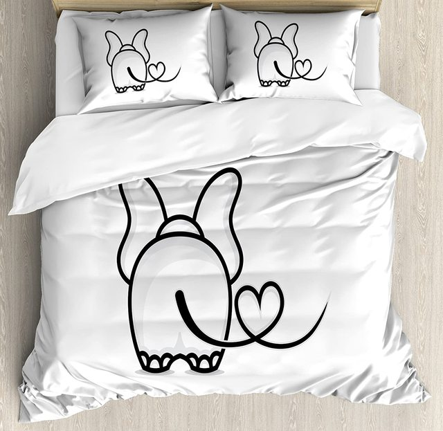 Romantic Duvet Cover Set Monochrome Elephant with Valentine #8217 s Heart Shaped Tail Love Theme Doodle Animal Bedding Set Black White cheap CHARM HOME None Sheet Pillowcase Duvet Cover Sets 100 Polyester 1 0m (3 3 feet) 1 35m (4 5 feet) 1 5m (5 feet) 2 0m (6 6 feet)