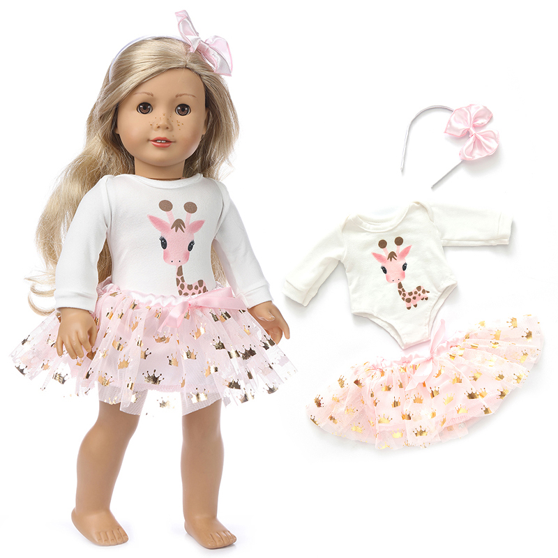 2020 New Pink Fawn Skirt  Fit For American Girl Doll Clothes 18-inch Doll , Christmas Girl Gift(Only Sell Clothes)