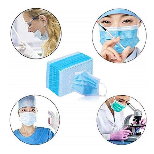 50PCS/Pack Three-Layers Anti Dust Disposable Face Masks Salon Flu Mask 5