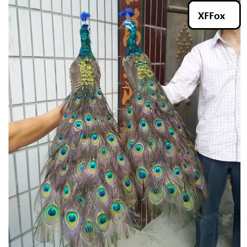A pair of real life beautiful peacock models foam&feather simulation beautiful peacock bird gift about 100cm xf2293
