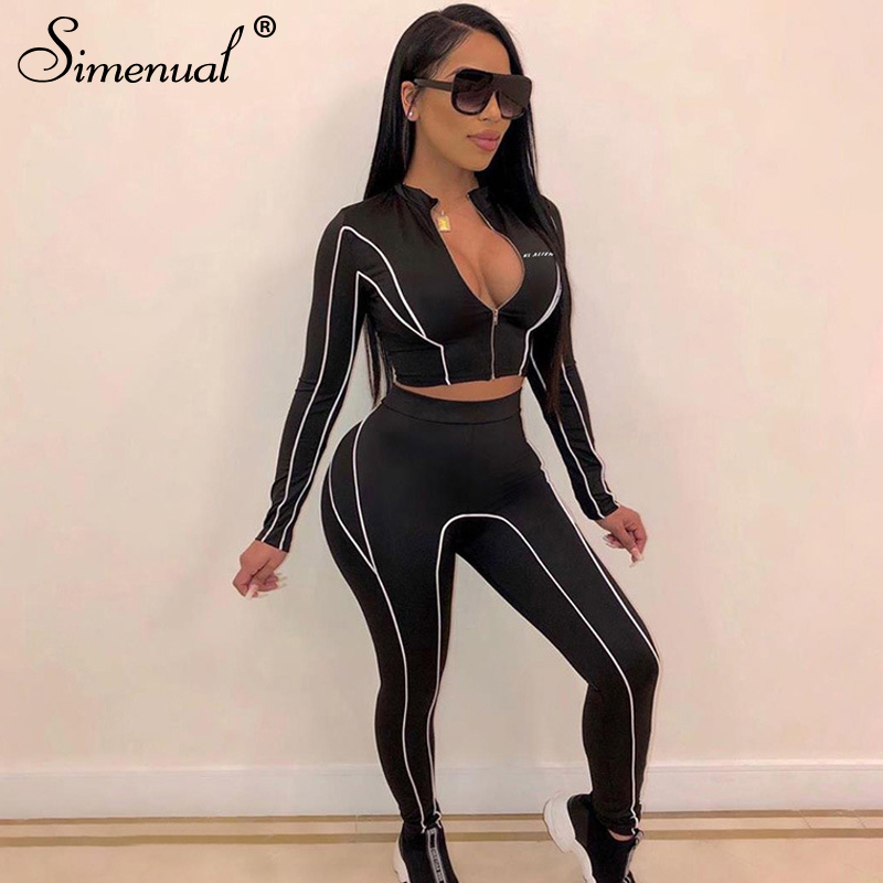 Simenual Casual Fitness Sporty Matching Set Women Letter Print Zipper Active Wear 2 Piece Outfits Long Sleeve Top And Pants Sets