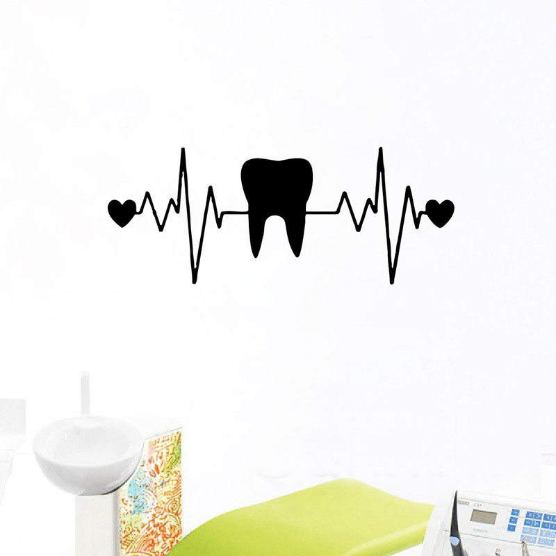 WJWY Teeth Dentistry Wall Stickers Heart ECG Vinyl Wall Decals Dentist Dental Clinic Decor Tooth Wallpaper Bathroom Decoration(China)