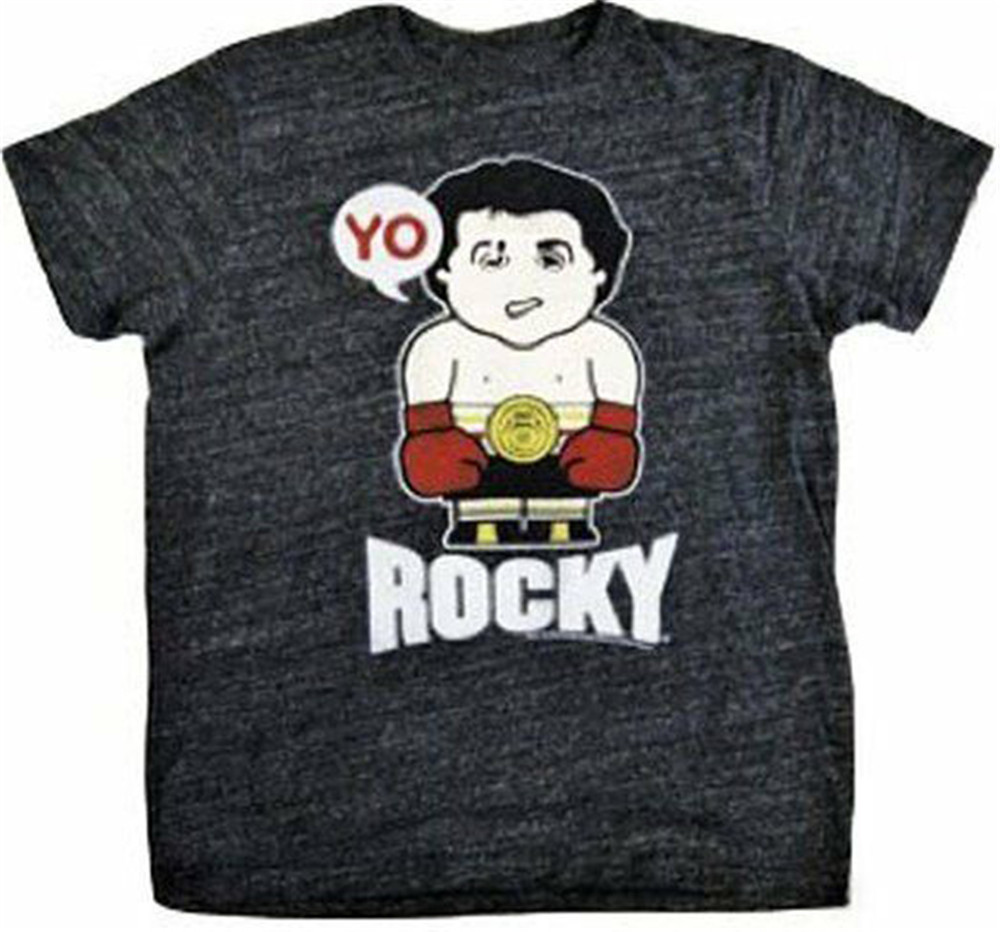 Adult Men's Drama Boxing Movie Rocky Small Figure Yo Heather Black T-Shirt Tee Printed Tee Shirt image