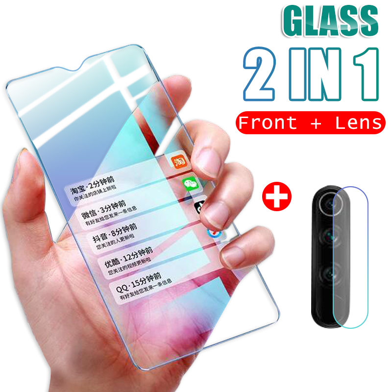 2 in 1 Lens Tempered Glass On For Xiaomi Redmi Note 7 8 Pro 8T 8A 7A Protective Glass Camera Full Cover Screen ProtectorPhone Screen Protectors   -
