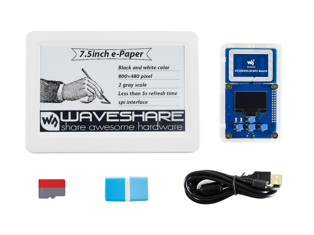 Waveshare 7.5inch Passive NFC-Powered E-Paper Evaluation Kit, No Battery, Wireless Powering & Data Transfer