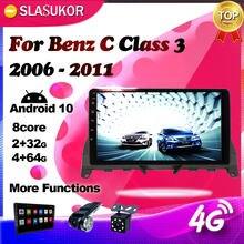 Para mercedes benz classe c 3 w204 s204 2006 2007 2008 2009 2010 2011 android multimídia vídeo navegação rádio do carro gps nenhum 2din