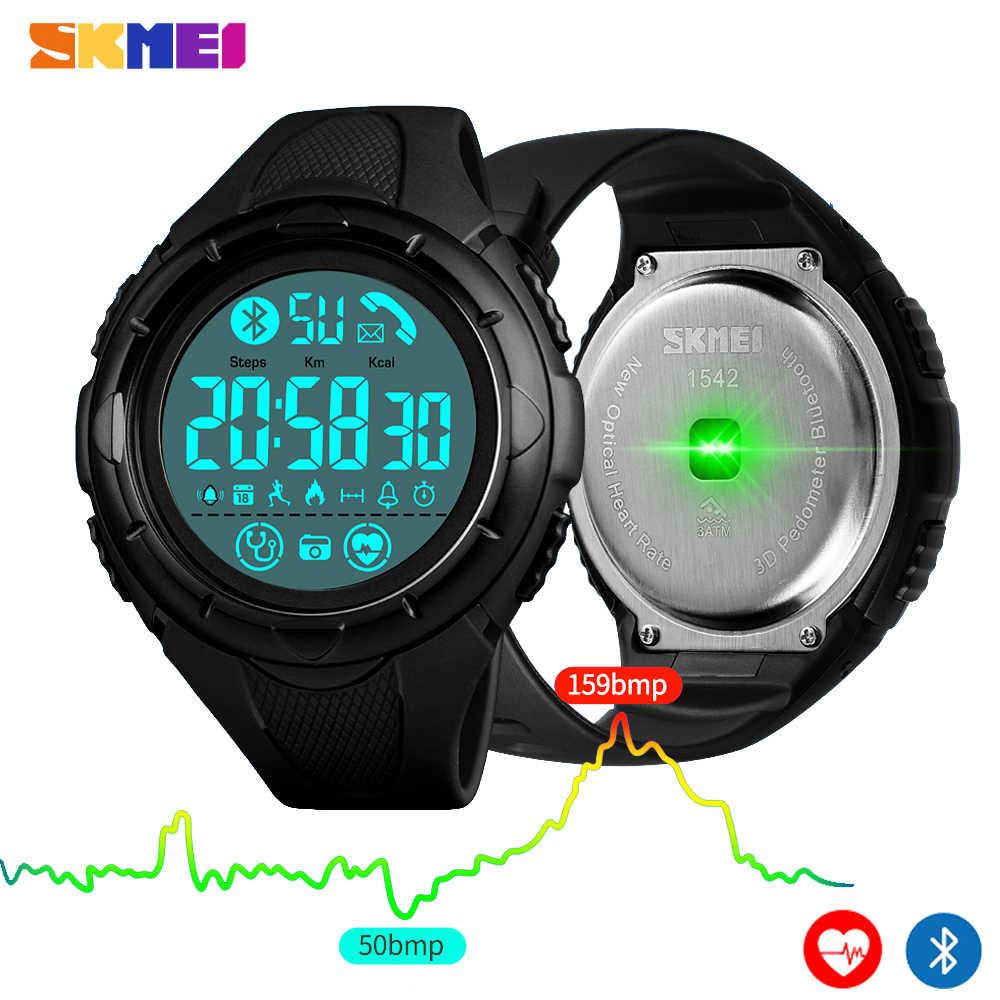 Skmei moda digital homem relógio de pulso bluetooth freqüência cardíaca relógio inteligente pedômetro calorias à prova dwaterproof água masculino inteligen