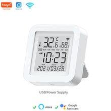 Tuya-Sensor de temperatura y humedad WIFI para automatización de hogar inteligente, Control remoto compatible con Alexa y Google Home