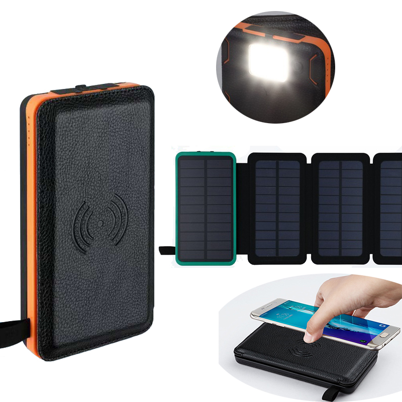 Hot Sale Solar Power Bank 30000mah Wireless Charging Waterproof Dual USB Ports External Charger Powerbank for Poverbank image