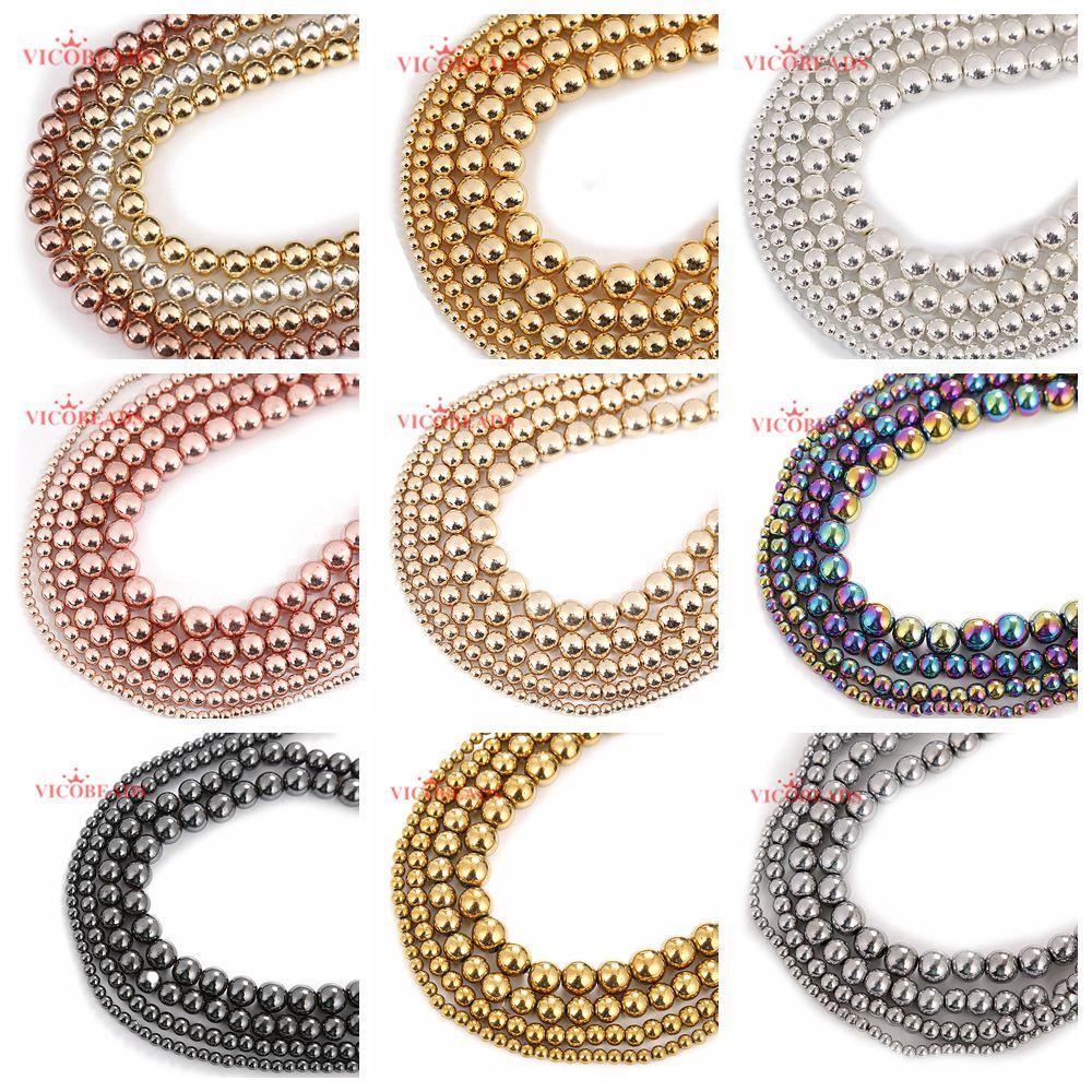 """Contas de hematita arco-íris, pedra natural, preto, rosa, dourado, prata, 4, 6, 8, 10mm, 15 """"por fio, palito tamanho para fazer jóias"""