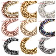 Бусины из натурального камня, цвет черный, розовое, золотистый, серебристый, флейта 4, 6, 8, 10 мм, 15 дюймов на нить, выберите размер для изготовле...