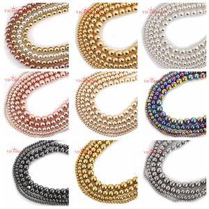 Contas de hematita arco-íris, pedra natural, preto, rosa, dourado, prata, 4, 6, 8, 10mm, 15