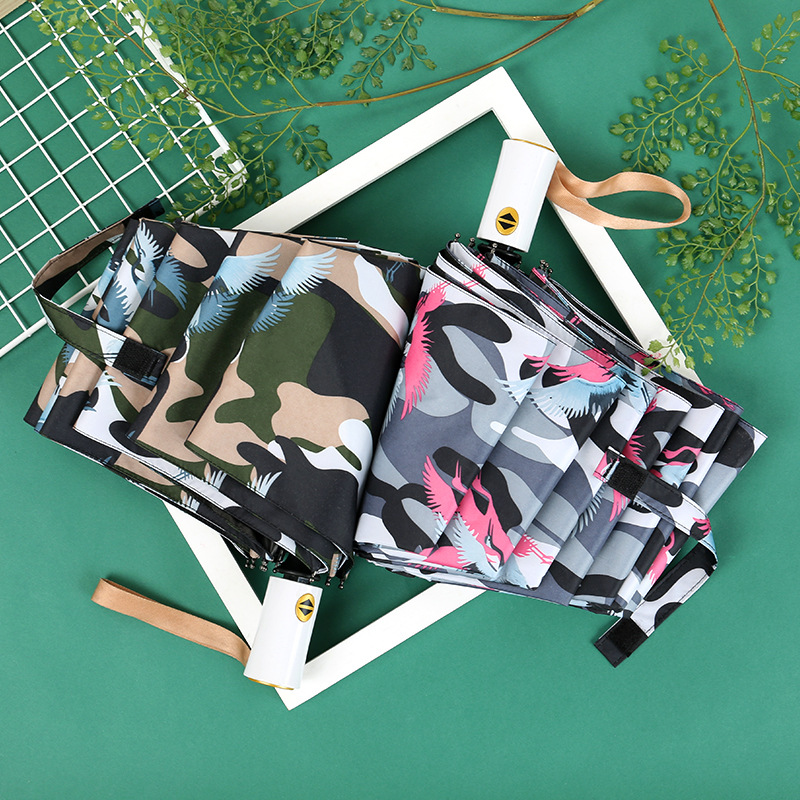 Creative Camouflage Fully Automatic Umbrella Vinyl Three-fold Umbrella Folding Parasol Outdoor Sunshade All-Weather Umbrella Man