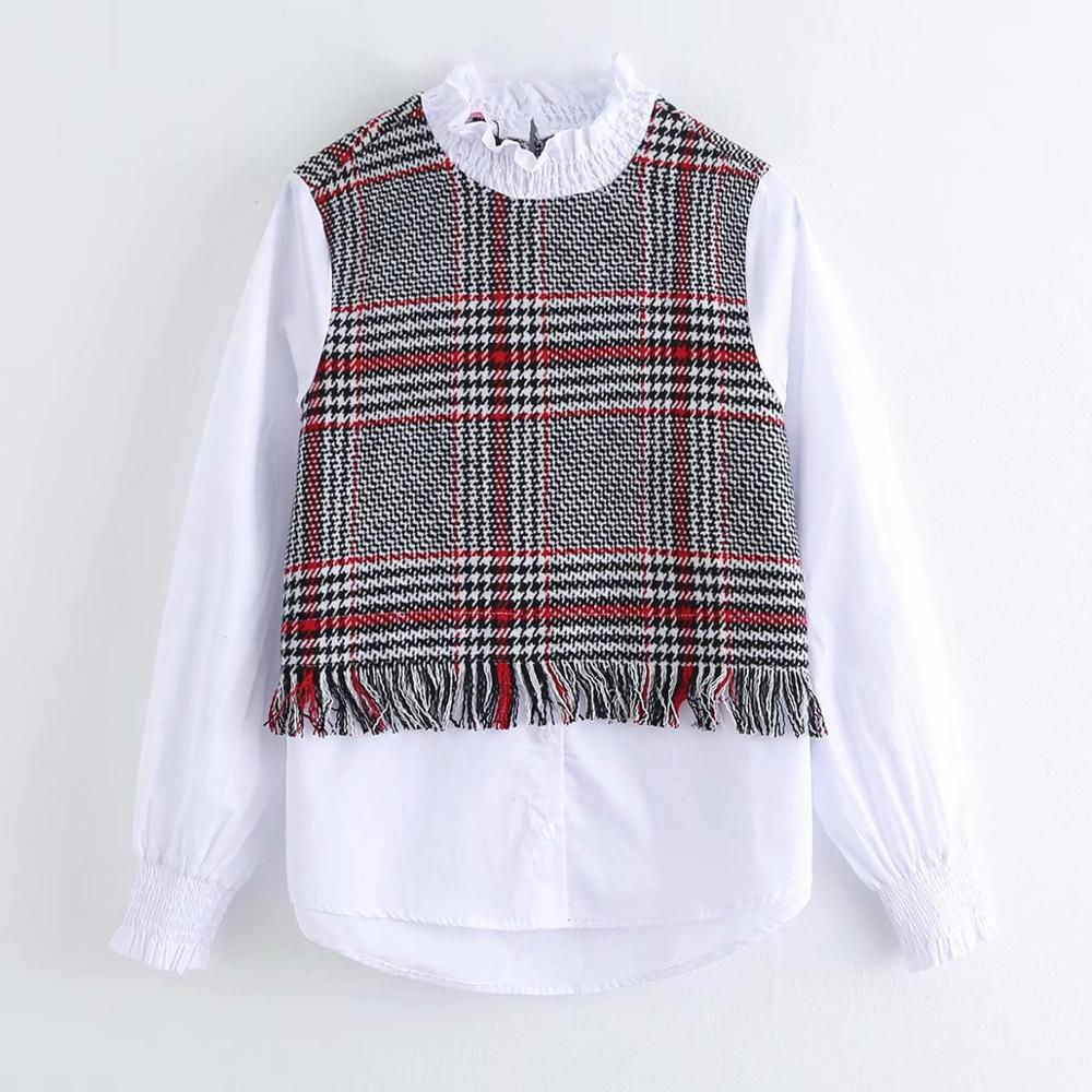 2020 New Women Fashion Tweed Woolen Patchwork Casual Blouse Office Ladies Elastic Pleated Ruffles Shirts Femininas Tops LS6247