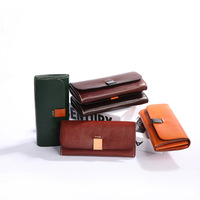 Classic genuine leather cowhide long purse handmade coin wallet for women high quality