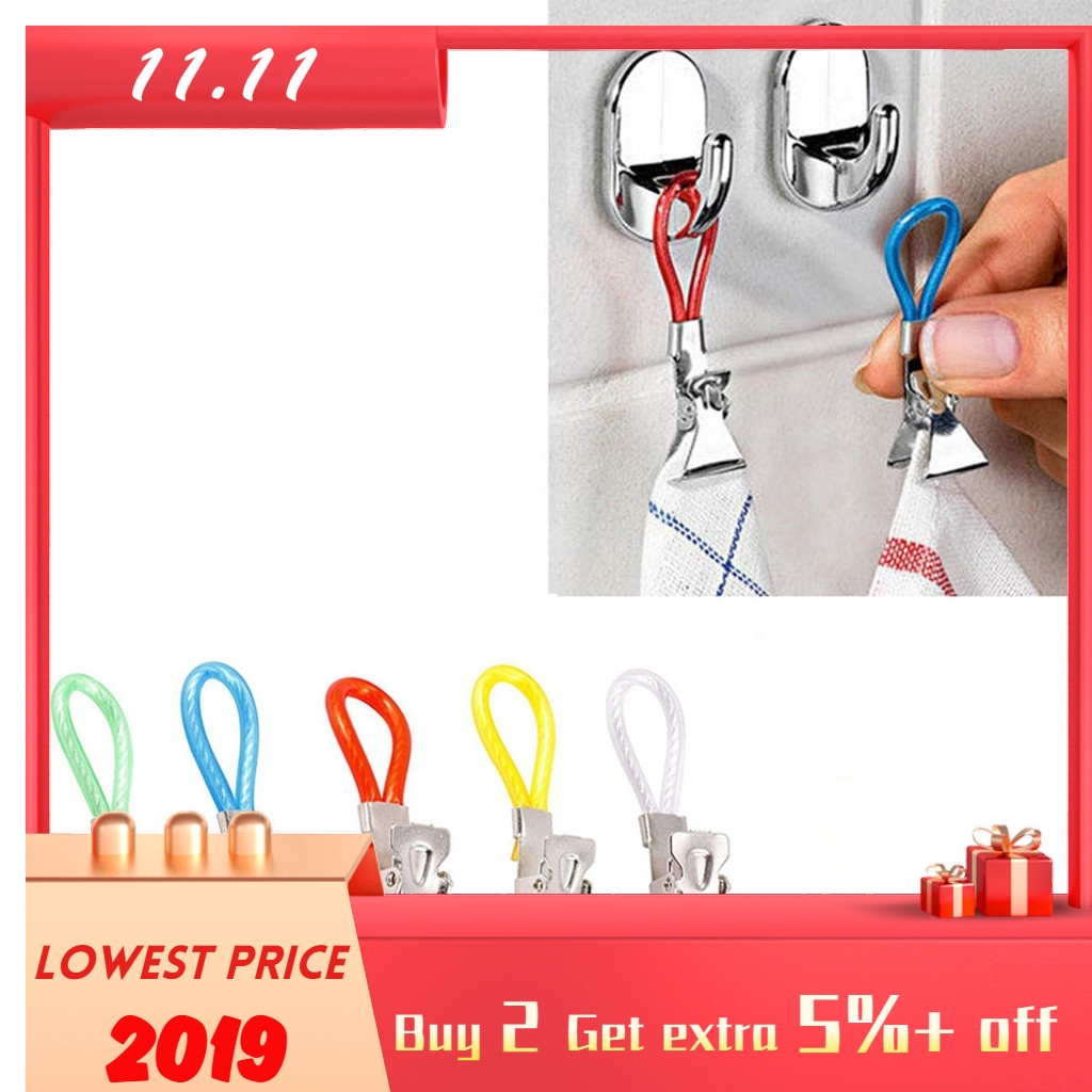 New Clothes Hanging Pegs 5pcs Durable Tea Towel Hanging Clips Clip On Hook Loops Hand Towel Hangers
