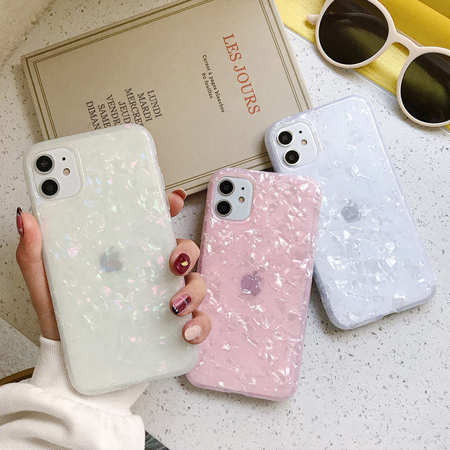 LOVECOM Phone Case For iPhone 11 Pro Max XR XS Max 6 6S 7 8 Plus X Dream Conch Glossy Marble Soft IMD Full Body Back Cover Gifts