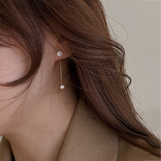 Simple Zircon Long Earrings Front And Back Delicate Korean Brincos 2021 Femme Jewelry Wholesale 3