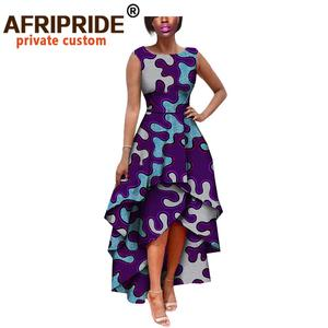 Image 2 - hot sale african dress for women AFRIPRIDE private custom sleeveless pleated party dress 100% pure wax cotton A722582