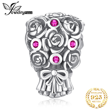 JewelryPalace Rose Bouquet Created Red Ruby 925 Sterling Silver Charm Beads For Women 2018 New Hot Sale Beautiful Gifts jewelrypalace luxury pear cut 7 4ct created emerald solid 925 sterling silver pendant necklace 45cm chain for women 2018 hot