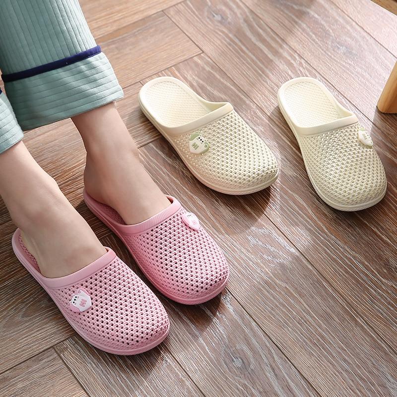 Шлепанцы женские для дома, сланцы, закрытый носок, вырез, Нескользящие, летняя обувь, пляжная обувь для ванной, SH339