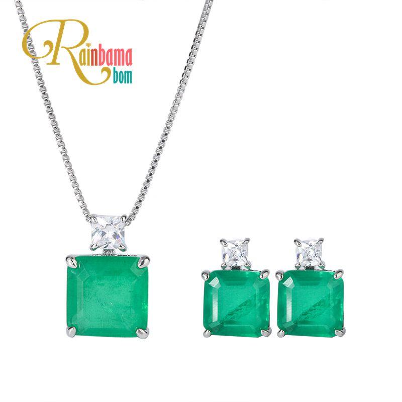Rainbamabom Vintage 925 Solid Sterling Silver Emerald Gemstone Earrings/Necklace Wedding Engagement Fine Jewelry Sets Wholesale