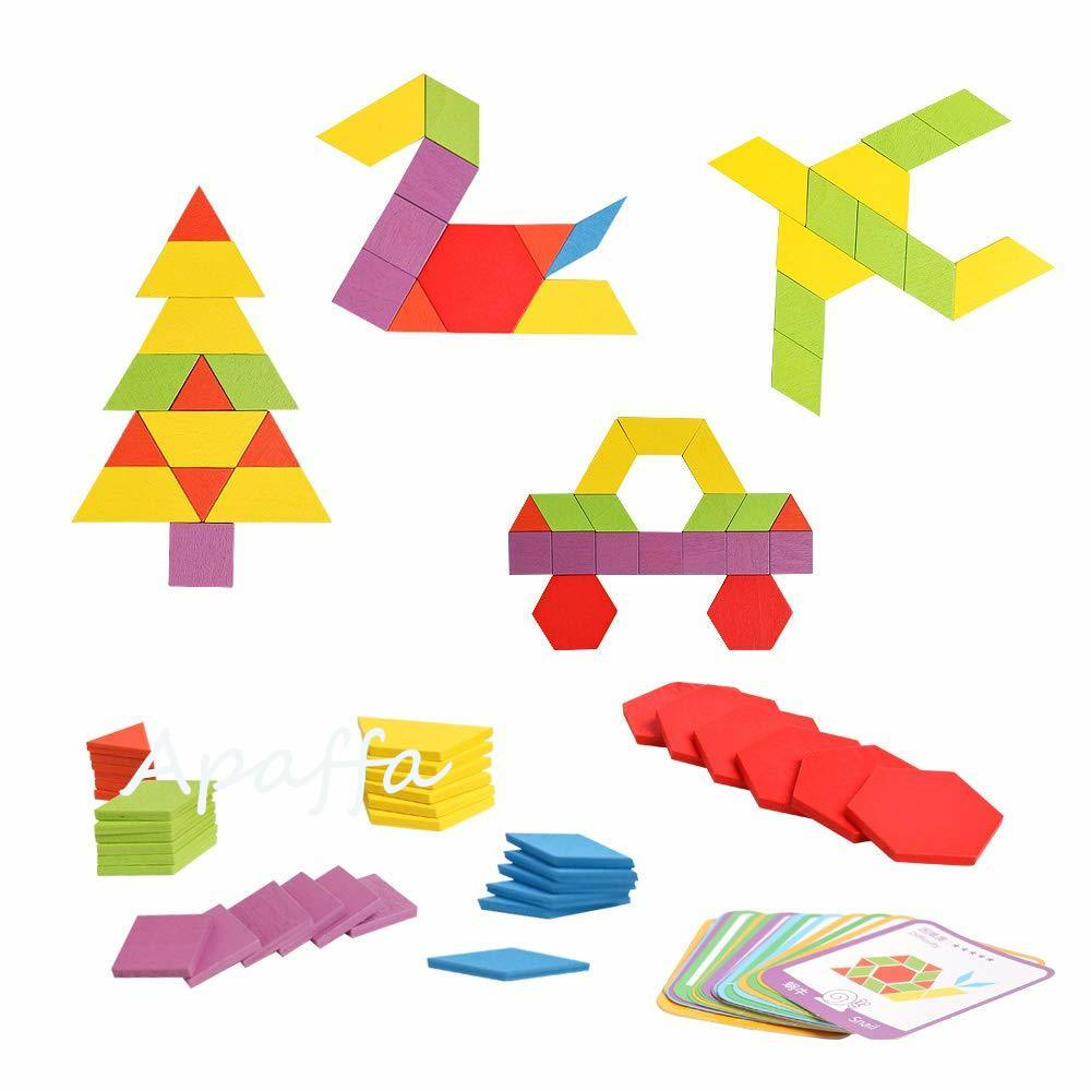 Image 4 - 155pcs 3d Wooden Jigsaw Puzzle Early Childhood Education Geometric Tangram Wooden Game Toys for Children Montessori LearningPuzzles   -