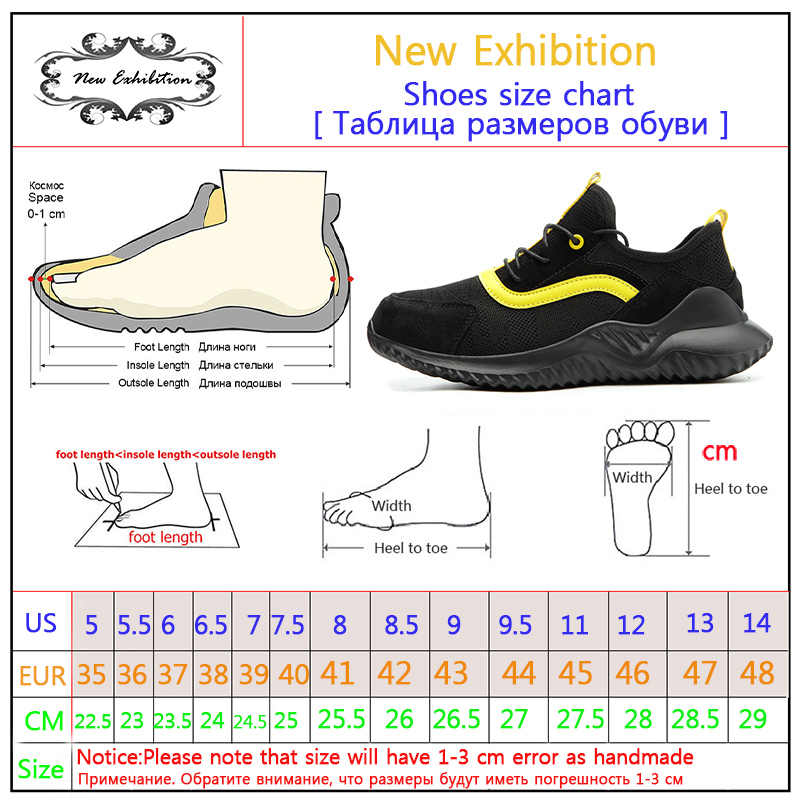 Yeni sergi erkek ayakkabıları hafif ve rahat çelik ayak Anti Smashing erkekler delinme geçirmez Chaussures kaymaz İş güvenliği botları
