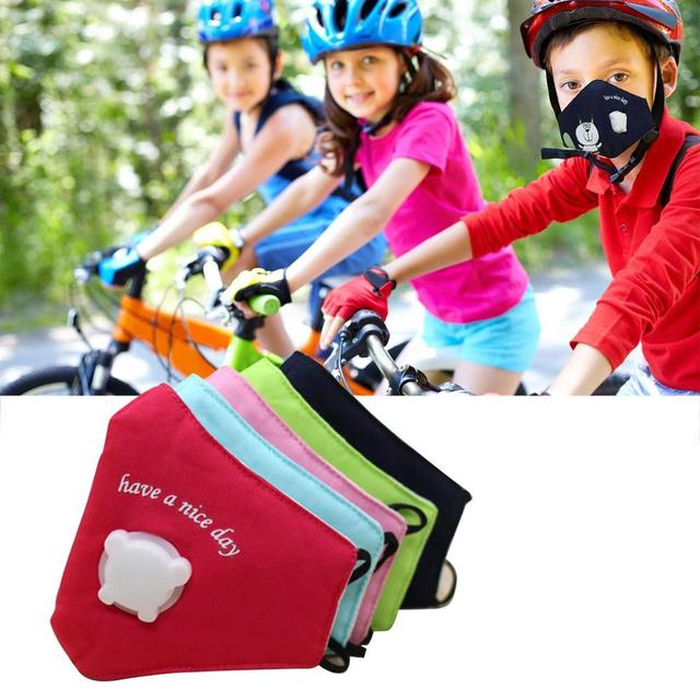 Children Cotton Anti Dust Mouth Mask Activated Carbon Filter Windproof With Breathing Valve Face Masks 5