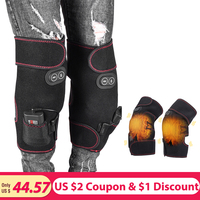 Electric Vibration Heating Knee Brace 1 Pair Infrared Magnetic Therapy Knee Support Wrap for Pain Injuries Ankle Arthritis