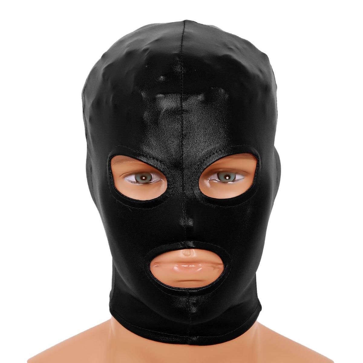 Mouth Mask Roleplay PVC Wet Look Full Head /& Open Eye Mouth Fancy Head Hood Mask