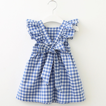 New Summer Girls' Dress Korean Strap Plaid Back Bow Sleeveless Party Princess Dress Cute Children's Baby Kids Girls Clothing girls zip back raw hem plaid dress