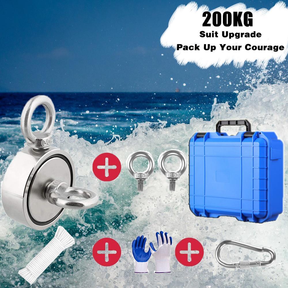 400 кг набор рыболовных магнитов включает в себя 6 мм прочную нейлоновую веревку с карабином Нескользящие резиновые перчатки супер сильный магнит Магнитные материалы      АлиЭкспресс
