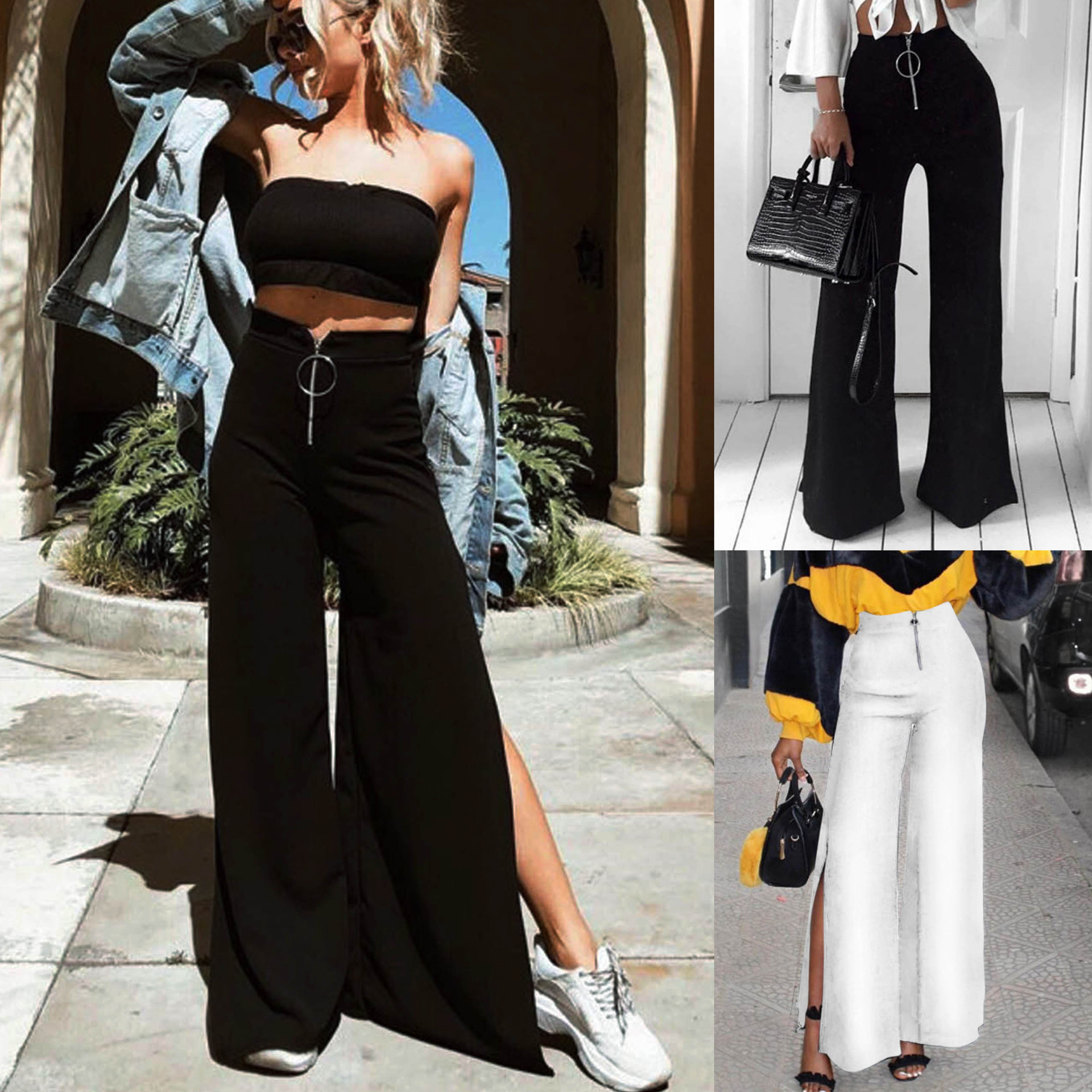 2018 Fashion Summer Loose   Wide     Leg     Pants   Black White Split   Pants   High Waist Summer   Pants   Trousers Women Sweatpants