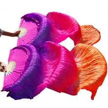 1 par 100% Real de Seda/Imitação de Seda Fãs da Dança Do Ventre Fã Véu Dança Do Ventre Ventilador de Seda Artesanal de Alta Qualidade fã de Dança de Seda tingidos
