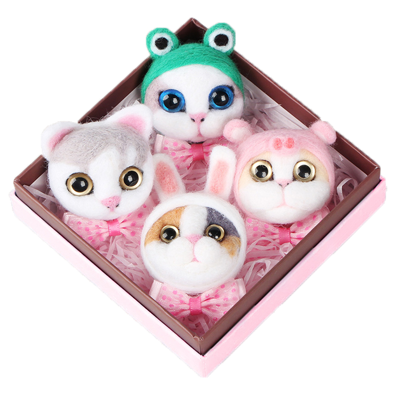 4-9 PCS Pets Cat Toys Doll Wool Crochet Doll Felt Needle Poked Dog Toy DIY Animal Dog Rabbit Wool Felting Material Non-Finished