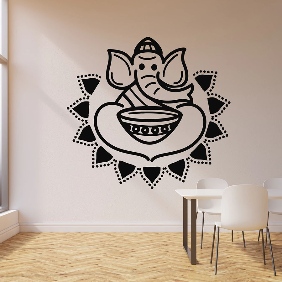 Elephant and Bowl Wall Decal Indian Cuisine Hot Spicy Food Vinyl Window Sticker Restaurant Kitchen Interior Decor Art Mural M621 image