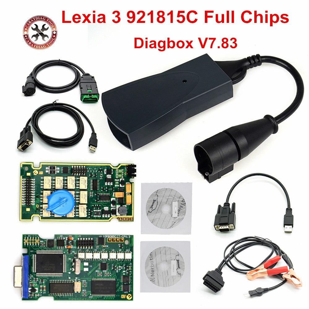 Profissional lexia3 921815c completo ferramenta de diagnóstico lexia 3 pp2000 v48/v25 diagbox v7.83 para peugeot/c-itroen scanner automático com psa