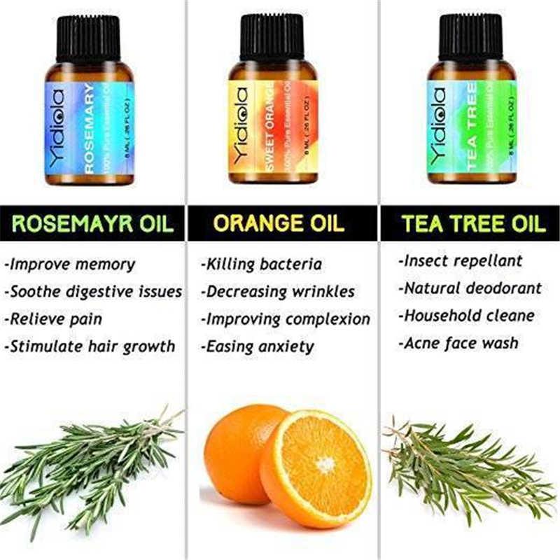 Yidiola 8 ml bergamota óleos essenciais puros para aromaterapia umidificador ajuda sono clamness chá árvore sândalo cedro óleo aromático