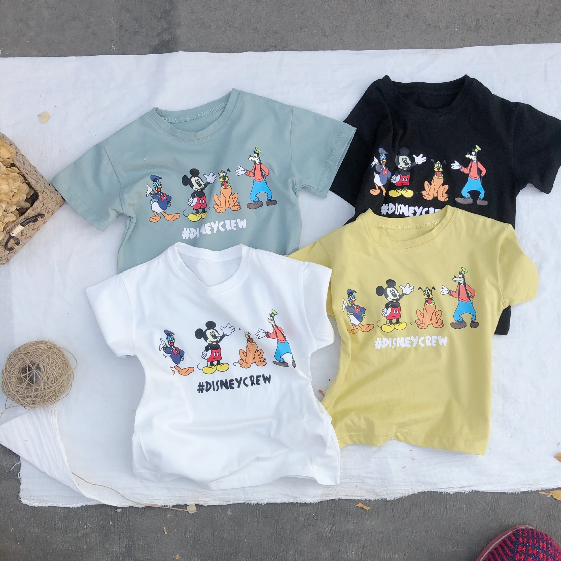 3195 2020 Spring And Summer New Children's Cartoon Print All-around T-shirt For Boys And Girls Multi Color Short Sleeve Top