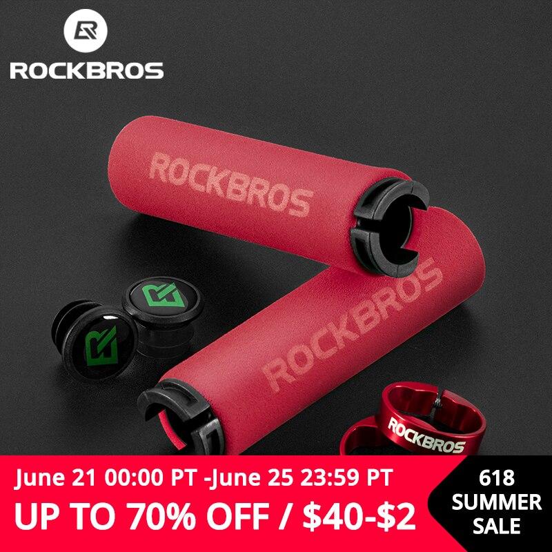 ROCKBROS велосипедные ручки MTB силиконовые губчатые накладки на ручки Анти-занос, удар-поглощая мягкая байка ручки Ultraight велосипедный руль