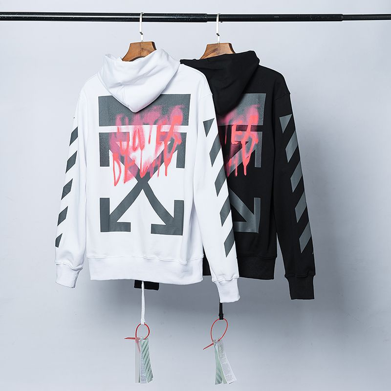 Off Hip Hop High Street Ow White Arrowhead Printed Hoodie Casual Men And Women Couples Hoodie Coat Fashion