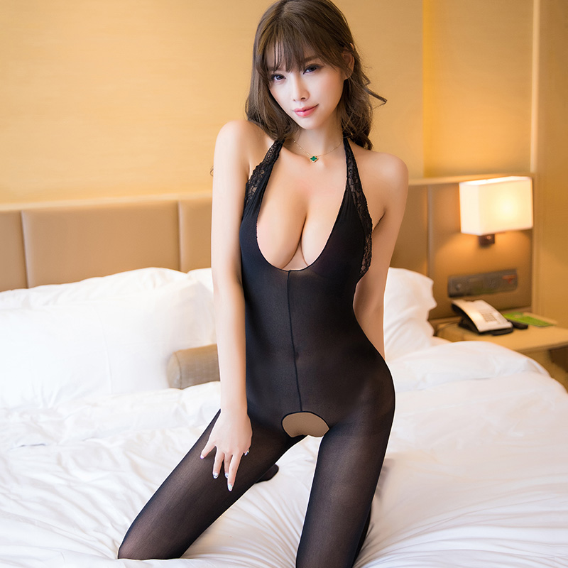 Open Crotch Party Lady Bodysuit Sexy Hollow Out See Through Pantyhose for Women High Elastic Thin Sexy Backless Bodystockings