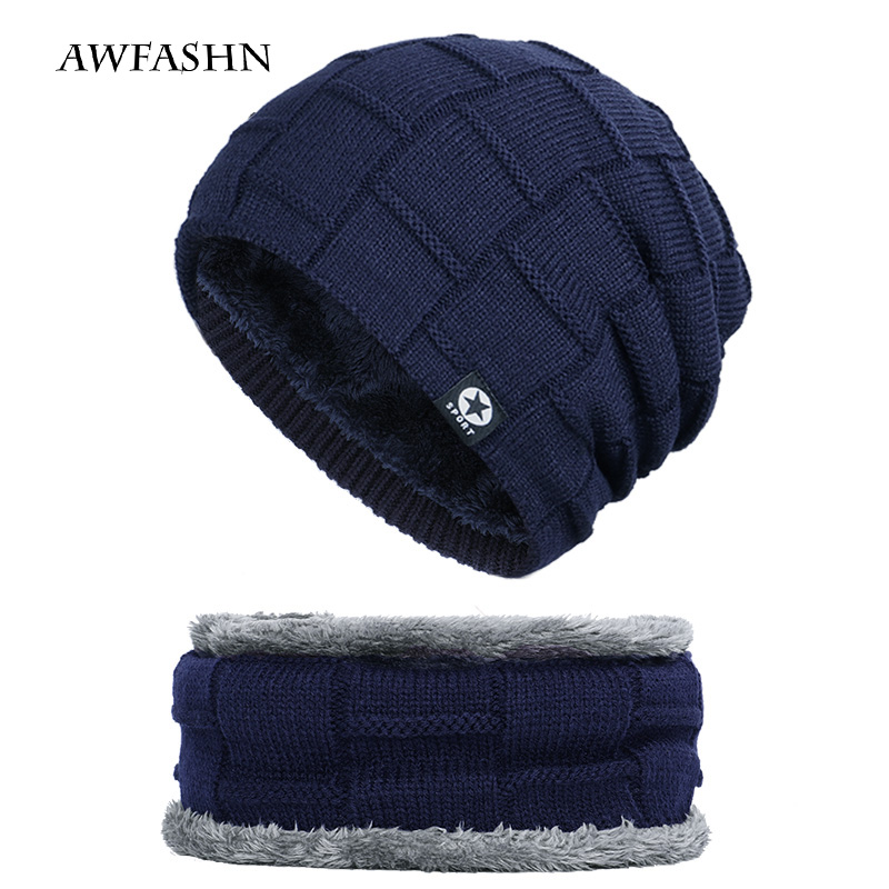 Winter Men's Five Star Hat Scarf Plus Velvet Men's Knit Cap Warm Ski Mask Mask Headscarf Hat High Quality Cotton Bib Fashion New