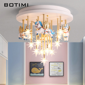 Детский потолочный светильник BOTIMI, с мультяшным рисунком, для девочек и мальчиков, розовый и синий цвета