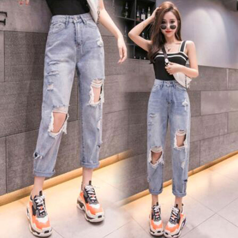 Woman Jeans High Waist Ripped Jeans 2020 Holes Denim Pants Blue Streetwear Casual Fashion Vintage Pants