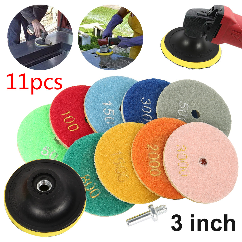 11Pcs 3 Inc 80mm Diamond Polishing Pads Kit Wet/Dry For Granite Stone Concrete Marble Polishing Use Grinding Discs Set