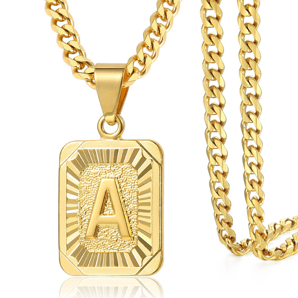 A-Z Pendant Letter Necklace for Men Women Stainless Steel Curb Cuban Chain Wholesale Dropshipping Jewelry US Stock 18inch DGP62 4