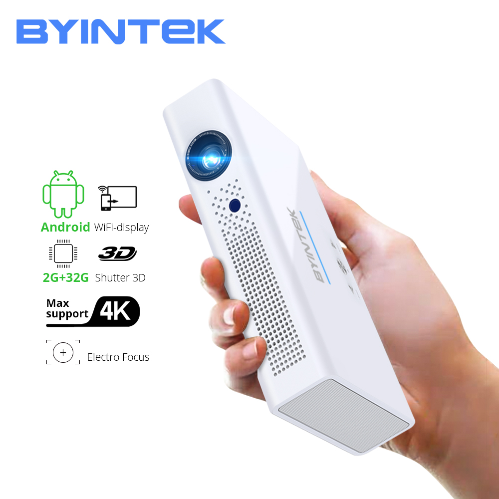 BYINTEK R19 3D 4K projector, 300inch Smart Android WIFI Video, LED Portable Mini DLP Projector for Full HD 1080P HDMI 4K image